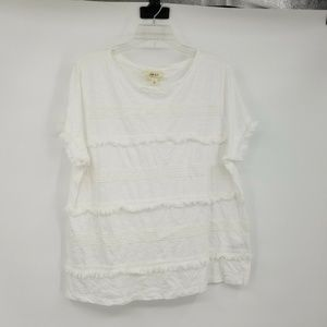 Style & Co L White Fringed Blouse 8BF16